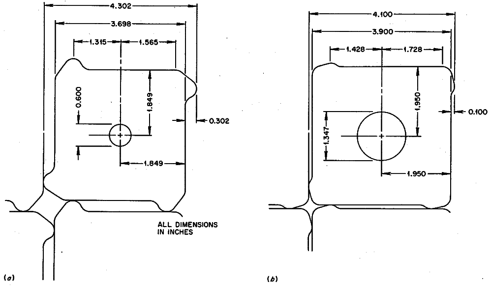 """Dimensioned cross-sections of the graphite prismatic structures from ORNL-4396 for a molten-salt breeder reactor. Through alteration of the surface features and a change in the diameter of the central bore, the fuel-to-moderator ratio could be altered to create two distinct regions of the reactor, approximating the role of the """"core"""" and the """"blanket"""". From ORNL-4396, page 66."""