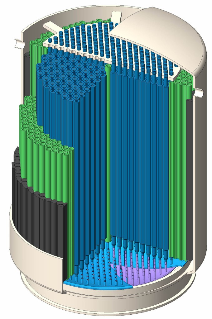 A cutaway view of the reactor vessel and core described in ORNL-4191. Different graphite regions are depicted in different colors. The core region is depicted in dark blue, the blanket region in green, and the reflector region in dark gray. The prismatic core transitions to the annular shape of the reactor vessel by trimming some of the graphite prisms of the reflector section. Image generated by Flibe Energy.